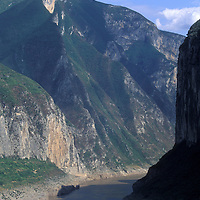 China, Sichuan Province, Passenger ferry sails through Qutang Gorge toward city of Fengjie on Yangtze River