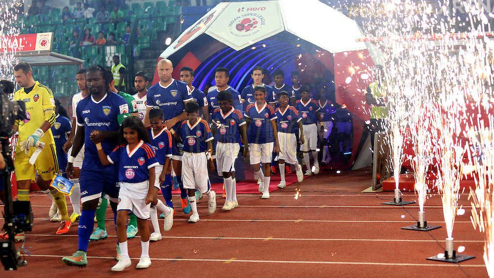 Players of Chennaiyin FC and players of FC Goa arrive for the  match 50 of the Hero Indian Super League between Chennaiyin FC and FC Goa held at the Jawaharlal Nehru Stadium, Chennai, India on the 5th December 2014.<br /> <br /> Photo by:  Sandeep Shetty/ ISL/ SPORTZPICS