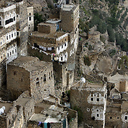 The stone homes of the 11th century village of Al Hajjara perched on a hilltop in the Haraz mountains.