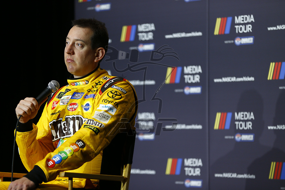 January 23, 2018 - Charlotte, North Carolina, USA: Kyle Busch (18) meets with the media during the NASCAR Media Tour at Charlotte Convention Center in Charlotte, North Carolina.