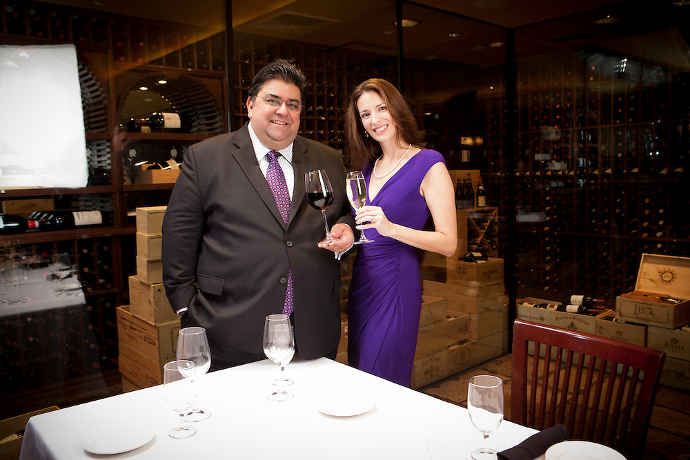 Omar Khan and Jennifer Simonetti-Bryan at Del Frisco International Business and Wine Society NYC