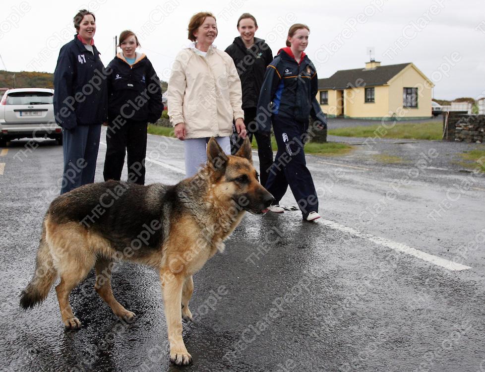 Celina Skeritt, Chloe Heany, Bridget Skeritt, Deirdre Egan and Ann O' Sullivan at the Burren Chernobyl sponsored walk in Liscannor on Sunday.<br /><br />Photograph by Yvonne Vaughan.