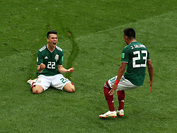June 17, 2018 - Moscow, Russia - June 17, 2018, Russia, Moscow, FIFA World Cup, First round, Group F, Germany vs Mexico at the Luzhniki stadium. Player of the national team Jess Daniel Gallardo Vasconcelos, Irwin Rodrigo Lozano Baena (Credit Image: © Russian Look via ZUMA Wire)