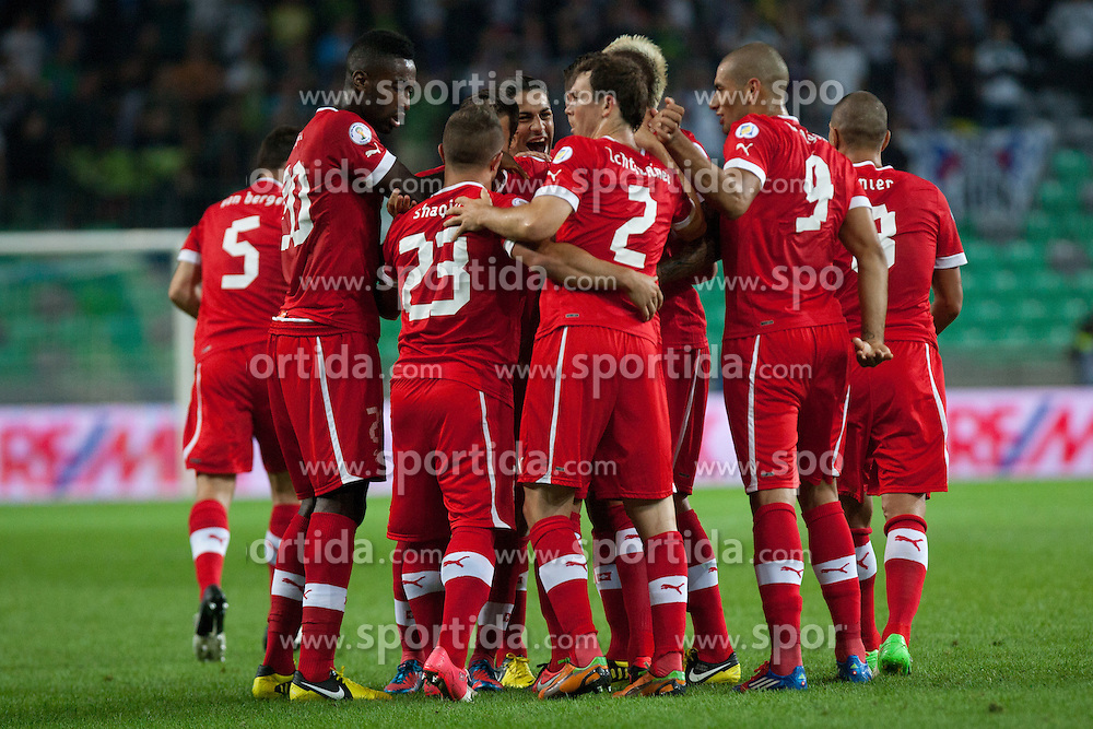 Players of Switzerland celebrate during qualification football match for World Cup 2014 in Brazil between national team of Slovenia and Switzerland, on September 7, 2012 in Ljubljana, Slovenia. (Photo by Matic Klansek Velej / Sportida.com)