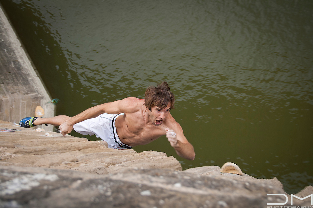 Chris Sharma before winning the Red Bull Creepers in Puente La Reina, Spain.