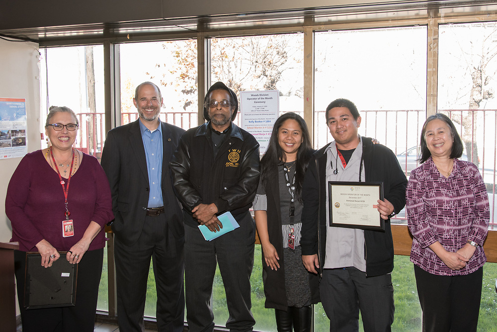 December Awardee Emmanuel Borja at Woods Division Systemwide Operator of the Month Ceremony | January 12, 2018