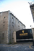 Original Cobblestone streets outside the Guinness Storehouse brewery in Dublin Ireland