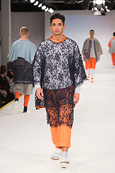 © Licensed to London News Pictures. 01/06/2015. London, UK. Collection by Beth McCallum. Fashion show of the Manchester School of Art at Graduate Fashion Week 2015. Graduate Fashion Week takes place from 30 May to 2 June 2015 at the Old Truman Brewery, Brick Lane. Photo credit : Bettina Strenske/LNP