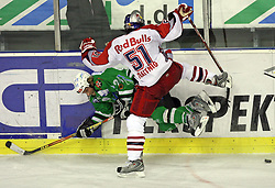Tomaz Vnuk of Olimpija and Matthias Trattnig of Salzburg at sixth game of the Final of EBEL league (Erste Bank Eishockey Liga) between ZM Olimpija vs EC Red Bull Salzburg,  on March 25, 2008 in Arena Tivoli, Ljubljana, Slovenia. Red Bull Salzburg won the game 3:2 and series 4:2 and became the Champions of EBEL league 2007/2008.  (Photo by Vid Ponikvar / Sportal Images)..