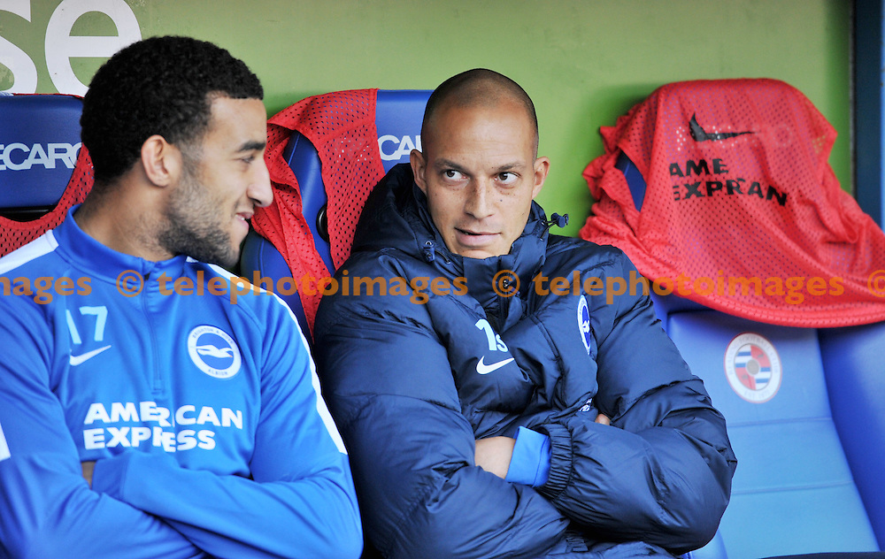 Brighton's Bobby Zamora on the bench during the Sky Bet Championship match between Reading and Brighton and Hove Albion at the Madejski Stadium in Reading. October 31, 2015.<br /> Simon  Dack / Telephoto Images<br /> +44 7967 642437
