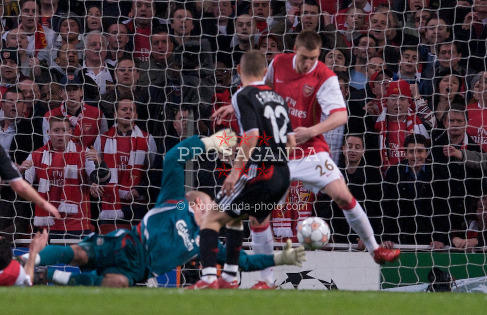 LONDON, ENGLAND - Wednesday, April 2,2008: Liverpool's goalkeeper Jose Pepe Reina is beaten as Arsenal's Nicklas Bendtner prevents his side from scoring a goal during the UEFA Champions League Quarter-Final 1st Leg match at the Emirates Stadium. (Pic by David Rawcliffe/Propaganda)