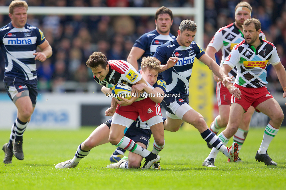 25.04.2015.  Sale, England.  Aviva Premiership Rugby. Sale Sharks versus Harlequins. Sale Sharks fullback Mike Haley makes the tackle.