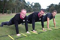 ARNHEM - De golfpro's van de Rosendaelsche GC. John Boerdonk en Menno Pelk met Tom Budding, fysiek jeugdtrainer.  COPYRIGHT KOEN SUYK