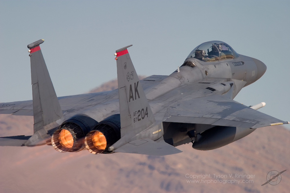This F-15E is from the 90th Fighter Squadron operating under the 3rd Wing stationed at Elmendorf AFB in Alaska. Although seen here taking off from runway 3L at Nellis AFB, fighter pilots from Alaska are beginning to feel right at home with the newly developed Red Flag Alaska replacing the already successful Cope Thunder exercises. Many aspects of Cope Thunder will remain unchanged despite the new name however, the name change will provide for a more integrated training environment.