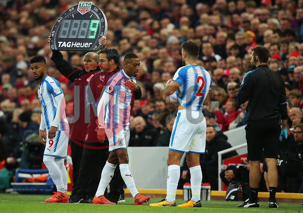 Rajiv van La Parra of Huddersfield Town consoled by Huddersfield Town manager David Wagner after being substituted with an injury - Mandatory by-line: Matt McNulty/JMP - 28/10/2017 - FOOTBALL - Anfield - Liverpool, England - Liverpool v Huddersfield Town - Premier League
