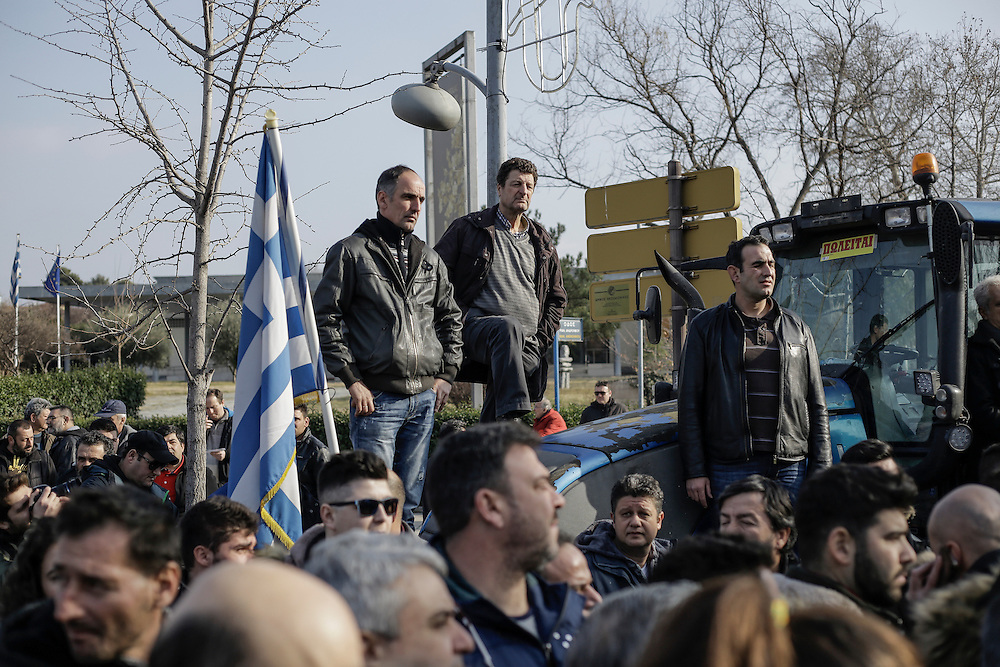 Farmers during a march inside the city of Thessaloniki, Greece, on the 2nd of February 2017. Farmers from around northern Greece gathered in Thessaloniki during the opening of the Zootechnia international livestock to demonstrate against the austerity measures put by the Greek government.