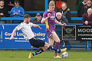 Jake Lawlor  and George McLennan during the Vanarama National League match between Guiseley  and Cheltenham Town at Nethermoor Park, Guiseley, United Kingdom on 9 April 2016. Photo by Antony Thompson.