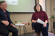 """John Greening, editor of Edmund Blunden's WWI memoir, """"Undertones of War"""", is interviewed by Ohio University associate professor Nicole Reynolds during an Authors at Alden event in Alden Library on Nov. 8, 2018.<br /> Photo by Hannah Ruhoff"""
