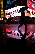 New York, Times square under the rain ,in a strange red light