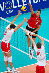 12.09.2011, O2 Arena, Prag, CZE, Europameisterschaft Volleyball Maenner, Vorrunde D, Deutschland (GER) vs Bulgarien (BUL), im Bild Matey Kazyiski (#6 BUL), Teodor Todorov (#14 BUL) - Georg Grozer (#7 GER / Rzeszow POL) // during the 2011 CEV European Championship, Germany vs Bulgaria at O2 Arena, Prague, 2011-09-12. EXPA Pictures © 2011, PhotoCredit: EXPA/ nph/  Kurth       ****** out of GER / CRO  / BEL ******