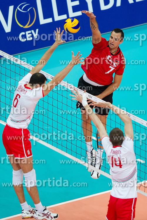 12.09.2011, O2 Arena, Prag, CZE, Europameisterschaft Volleyball Maenner, Vorrunde D, Deutschland (GER) vs Bulgarien (BUL), im Bild Matey Kazyiski (#6 BUL), Teodor Todorov (#14 BUL) - Georg Grozer (#7 GER / Rzeszow POL) // during the 2011 CEV European Championship, Germany vs Bulgaria at O2 Arena, Prague, 2011-09-12. EXPA Pictures © 2011, PhotoCredit: EXPA/ nph/  Kurth       ****** out of GER / CRO  / BEL ******