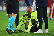Wolfsberg goalkeeper Alexander Kofler on the ground during the UEFA Europa League, Group J football match between AS Roma and Wolfsberg AC on December 12, 2019 at Stadio Olimpico in Rome, Italy - Photo Federico Proietti / ProSportsImages / DPPI