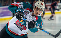KELOWNA, CANADA - DECEMBER 29: Alex Swetlikoff #17 of the Kelowna Rockets warms up for his first home game against the Kamloops Blazers  on December 29, 2018 at Prospera Place in Kelowna, British Columbia, Canada.  (Photo by Marissa Baecker/Shoot the Breeze)