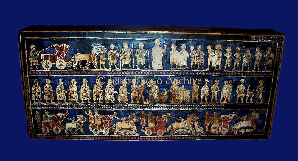 The War frieze from the Standard of Ur.  Sumerian artefact excavated from the Royal Cemetery in Ur (located in modern-day Iraq). The Standard of Ur dates from around 2600 - 2400 BCE, and was excavated by British archaeologist Sir Leonard Woolley in the 19