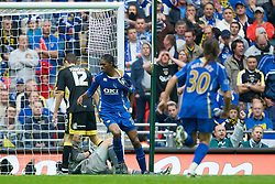 LONDON, ENGLAND - Saturday, May 17, 2008: Portsmouth's Nwankwo Kanu celebrates scoring the opening goal during the FA Cup Final at Wembley Stadium. (Photo by David Rawcliffe/Propaganda)