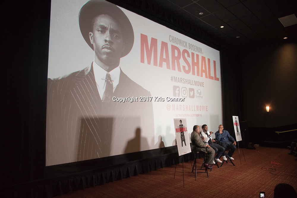 Roland Martin interviews Actor Chadwick Boseman and Director Reginald Hudlin during a Q&A session after a screening of Open Road Films' new movie MARSHALL at in Baltimore, Md. on July 25th, 2017. (Photo by Kris Connor/Open Road Films)