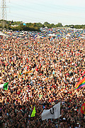 A sea of people, a large crowd at the Pyramid stage, Glastonbury 2005