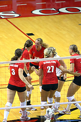 28 AUG 2009: Mallory Leggett celebrates with the rest of the active Redbirds. The Redbirds of Illinois State defeated the Runnin' Bulldogs of Gardner-Webb in 3 sets during play in the Redbird Classic on Doug Collins Court inside Redbird Arena in Normal Illinois