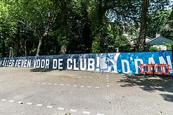 banner of De Graafschap during the Dutch Jupiler League play-offs first final match between De Graafschap and Almere City FC at the Vijverberg on May 20, 2018 in Doetinchem, The Netherlands