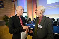 """26 NOV 2008, BERLIN/GERMANY:<br /> Prof. Hans Joachim Schellnhuber (L), Direktor des Potsdam-Instituts fuer Klimaforschung, PIK, und Erhard Eppler (R), SPD, Bundesminister a.D., im Gespraech, 3. Deutscher Klimakongress der EnBW unter dem Motto """"Klimaschutz - Was ist machbar?"""", dbb-Forum<br /> IMAGE: 20081126-01-161<br /> KEYWORDS: Gespräch"""