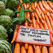 "Fresh produce and warning signs, ""Don't Even Think About Disturbing The Display..."", Pike Place Market, Seattle, Washington"