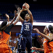 UNCASVILLE, CONNECTICUT- JUNE 3:   Angel McCoughtry #35 of the Atlanta Dream shoots for two during the Atlanta Dream Vs Connecticut Sun, WNBA regular season game at Mohegan Sun Arena on June 3, 2016 in Uncasville, Connecticut. (Photo by Tim Clayton/Corbis via Getty Images)