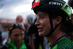 Marianne Vos (NED) talks about falling off the road at Postnord Vårgårda West Sweden Road Race 2018, a 141 km road race in Vårgårda, Sweden on August 13, 2018. Photo by Sean Robinson/velofocus.com