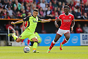 Exeter Luke Croll (23) on the ball during the EFL Sky Bet League 2 match between Swindon Town and Exeter City at the County Ground, Swindon, England on 12 August 2017. Photo by Gary Learmonth.