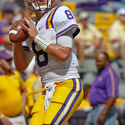 October 8, 2011; Baton Rouge, LA, USA; LSU Tigers quarterback Zach Mettenberger (8) prior to kickoff of a game against the Florida Gators at Tiger Stadium.  Mandatory Credit: Derick E. Hingle-US PRESSWIRE / © Derick E. Hingle 2011