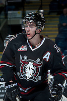 KELOWNA, CANADA -FEBRUARY 5: Haydn Fleury D #4 of the Red Deer Rebels stands on the ice against the Kelowna Rockets on February 5, 2014 at Prospera Place in Kelowna, British Columbia, Canada.   (Photo by Marissa Baecker/Getty Images)  *** Local Caption *** Haydn Fleury;