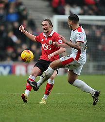 Bristol City's Luke Ayling hits the ball forward  - Photo mandatory by-line: Joe Meredith/JMP - Mobile: 07966 386802 - 07/02/2015 - SPORT - Football - Milton Keynes - Stadium MK - MK Dons v Bristol City - Sky Bet League One