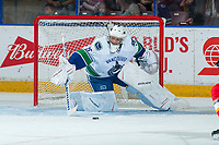 PENTICTON, CANADA - SEPTEMBER 10: Michael DiPietro #75 of Vancouver Canucks makes a save against the Calgary Flames on September 10, 2017 at the South Okanagan Event Centre in Penticton, British Columbia, Canada.  (Photo by Marissa Baecker/Shoot the Breeze)  *** Local Caption ***