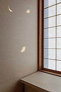 Kyoto, Japan, February 9 2016 - Holly (Hiiragi) leaf made by sunlight passing through the wall in a room of the « New Building » at Hiiragiya Ryokan, one of the finest ryokan (Japanese Inn) in Kyoto. Hiiragiya was established in 1818. A new building was built in 2006 and each of the twenty-eight rooms at Hiiragiya was uniquely designed with its own special motif.