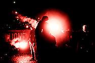 Roma, Italia - 10 novembre 2012. Militanti di estrema destra del Movimento Sociale Europeo durante una manifestazione attraverso le strade di Roma. I militanti hanno protestato contro le attuali politiche dei governi europei..Ph. Roberto Salomone Ag. Controluce.ITALY - Far rights militansts during a rally in Rome on November 10, 2012.