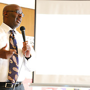 Detroit Deputy Mayor Anthony Adams speaks at a Detroit Incinerator Rally held at the First Unitarian Church of Detroit on May 13, 2008.
