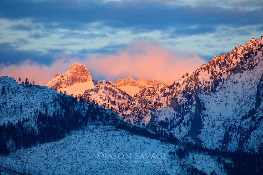 Sunrise on Bitterroot Mountains, Montana.