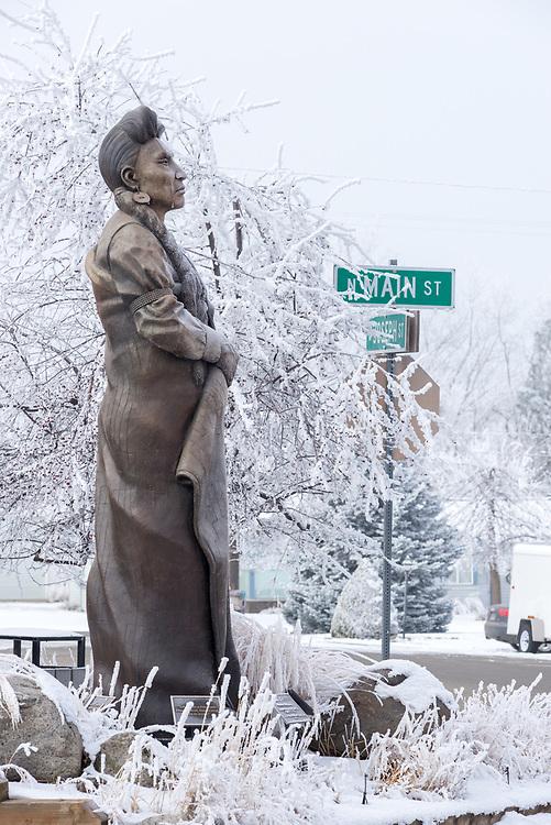George Bunn's sculpture of Chief Joseph on a winter day in Joseph, Oregon.