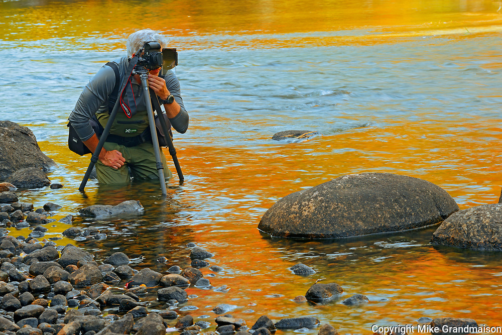 Photographer Mike Karakas hard at work in Dryberry Creek<br />