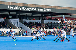 Surbiton look to score from a penalty corner. Wimbledon v Surbiton - Men's Hockey League Final, Lee Valley Hockey & Tennis Centre, London, UK on 23 April 2017. Photo: Simon Parker