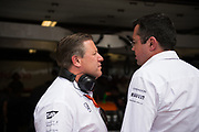 June 8-11, 2017: Canadian Grand Prix. Zak Brown, executive chairman of Mclaren Honda F1 team,  Eric Boullier, team principal of Mclaren Honda F1 team
